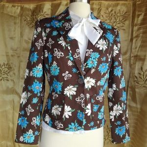 Blue Daisies Fitted Blazer